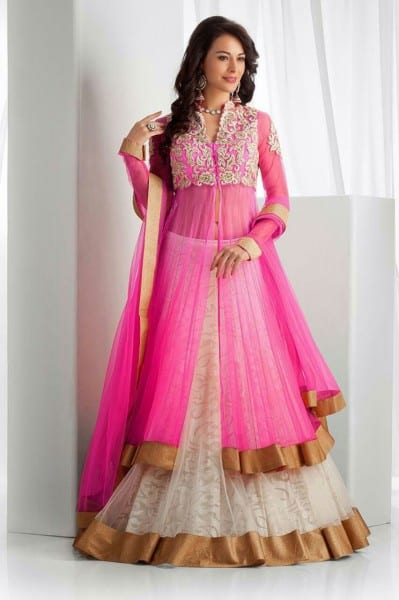 Pink Panthor Party wear Net Salwar Kameez Pink
