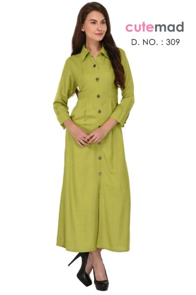 Light Green Cotton Daily Wear Patch Work Kurti