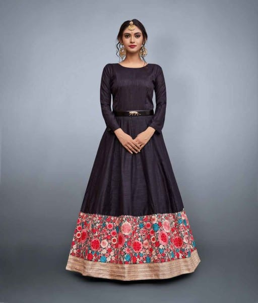Black Embrodered Party Wear Gown 663