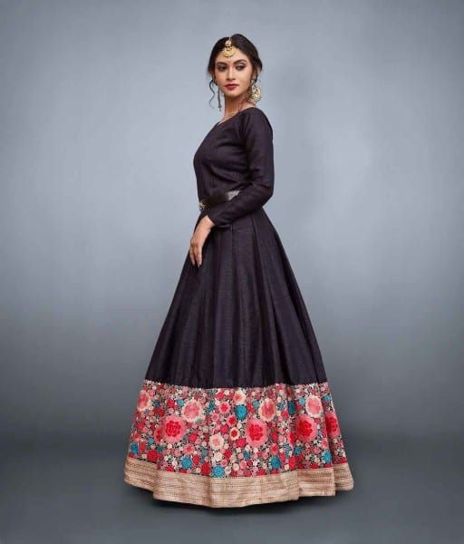 Black Embrodered Party Wear Gown 663-A