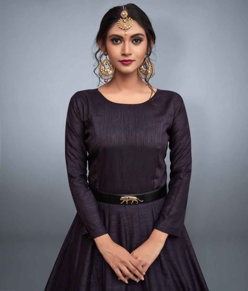 Black Embrodered Party Wear Gown 663-B