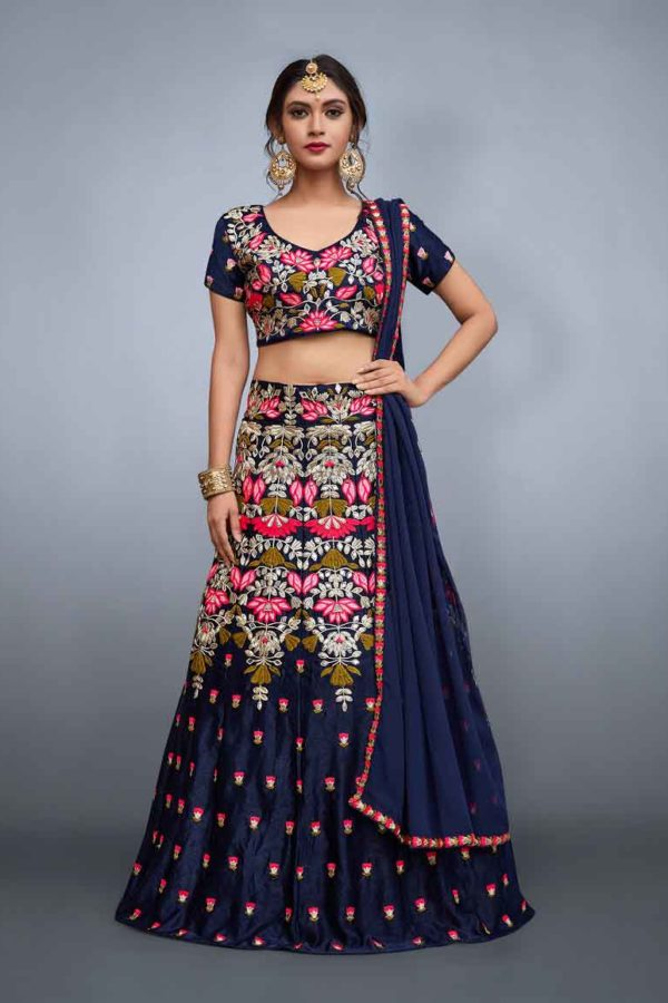 Fancy navy blue color velvet lehenga and choli 759-A