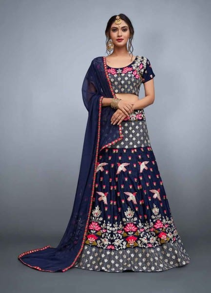Designer navy blue color velvet choli and soft net dupatta with lavish resham embroidery 760