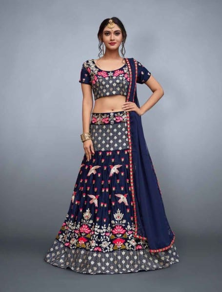 Designer navy blue color velvet choli and soft net dupatta with lavish resham embroidery 760-A