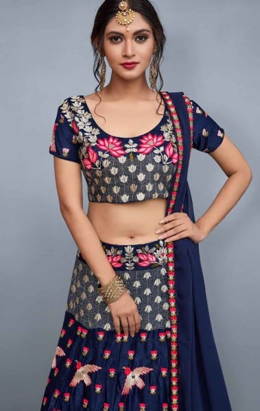 Designer navy blue color velvet choli and soft net dupatta with lavish resham embroidery 760-B