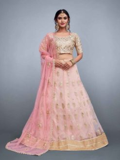 Designer baby pink lehenga skirt in soft net with embroidery 796