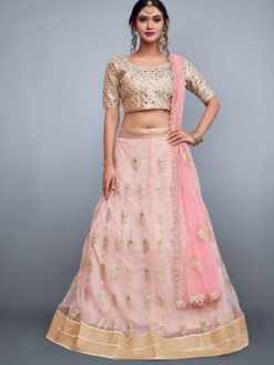 Designer baby pink lehenga skirt in soft net with embroidery 796-A