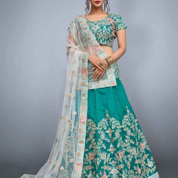 Bridal Green color Art Silk Lehenga 798