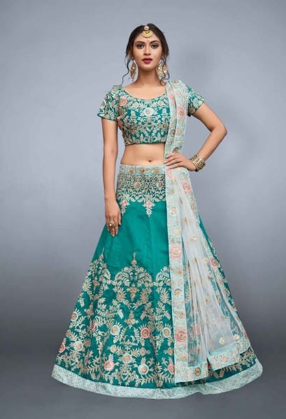Bridal Green color Art Silk Lehenga 798-A