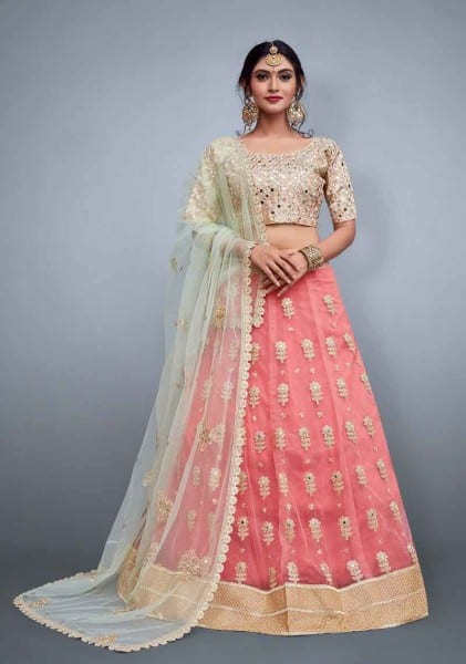 Bridal pink lehenga skirt in soft net with embroidery 799