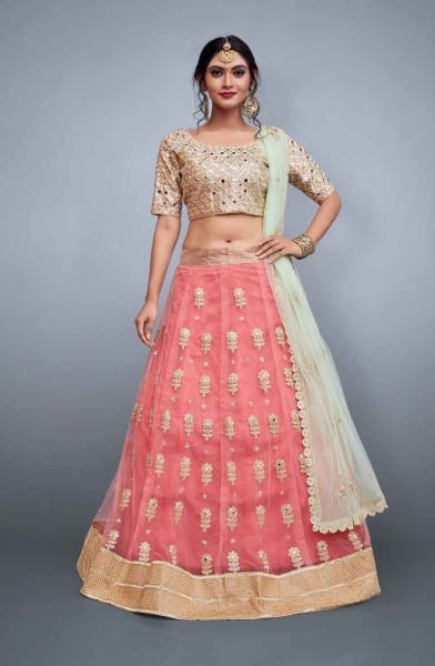 Bridal pink lehenga skirt in soft net with embroidery 799-A