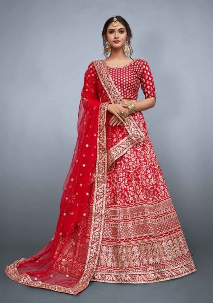 Designer red floral resham work with sequins embellished Lehenga 804