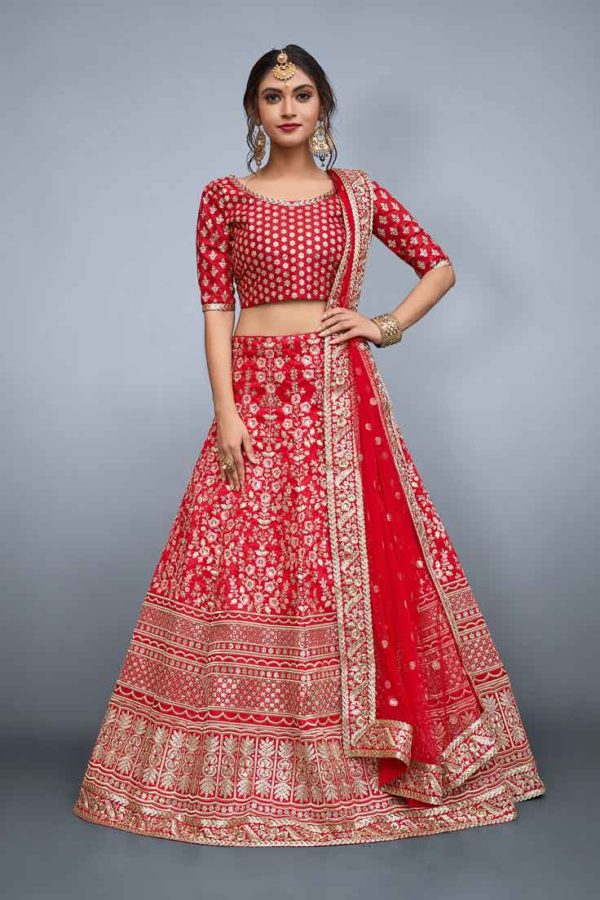 Designer red floral resham work with sequins embellished Lehenga 804-A