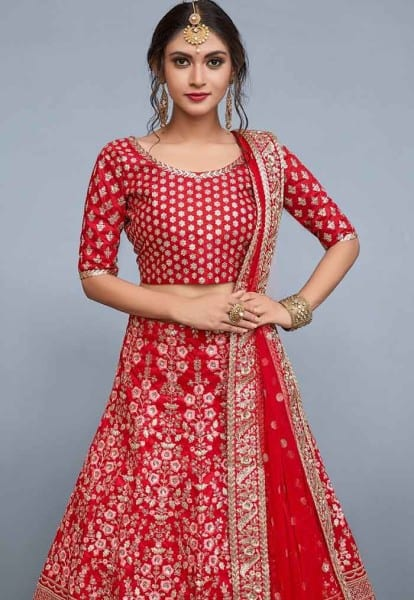 Designer red floral resham work with sequins embellished Lehenga 804-B