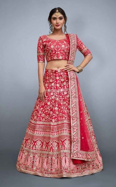 Red designer Bridal Lehenga Choli 805-A