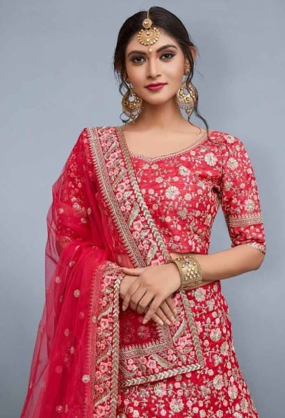 Red designer Bridal Lehenga Choli 805-B