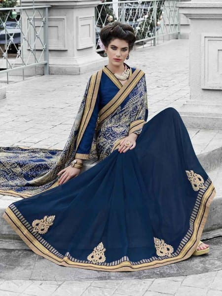 Violet satin and georgette saree 11341 A