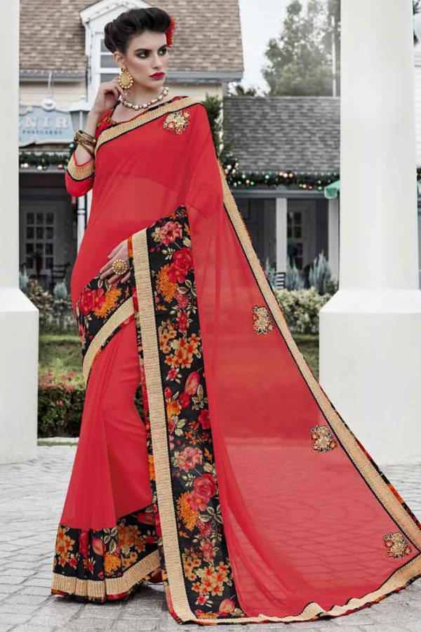 Designer red georgette Saree 11353