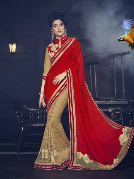 Indian Women red and gold fancy fabrics and c/n paper silk Saree 12616