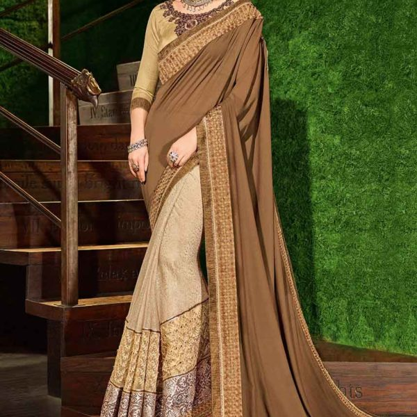 brown and beige color georgette and jacquard Saree 30206