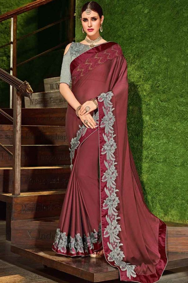 Indian Women maroon color georgette Saree 30207
