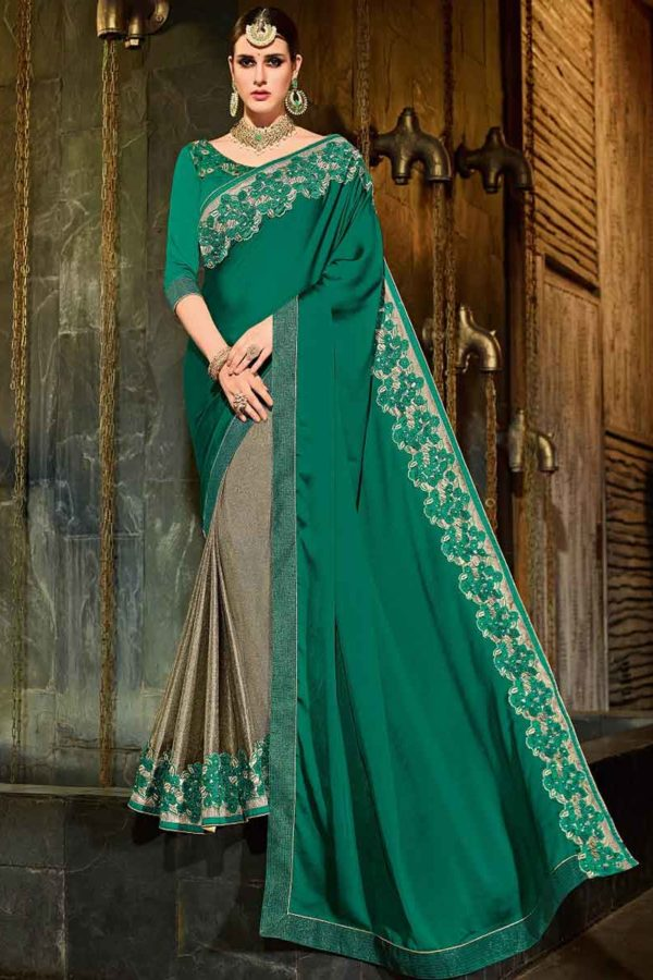 Indian Women green and brown color georgette and lycra Saree 30208