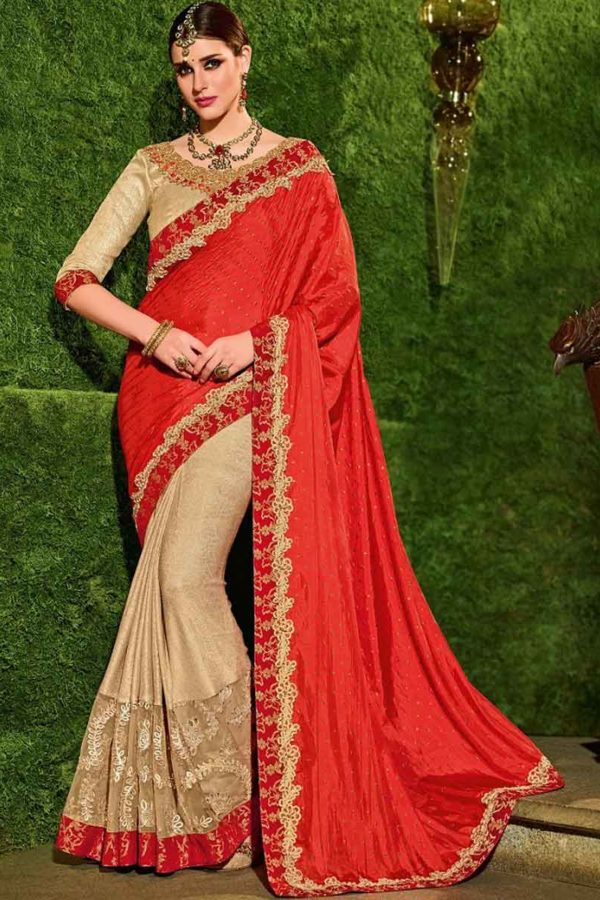 Indian Women orange and beige color silk and lycra Saree 30221