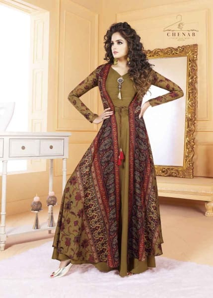 Traditional Multi Color Tafeta Silk Party Wear Gown 5502