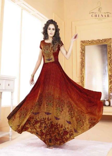 Magnificent Multi Color Tafeta Silk Digital Print Party Wear Gown 5507