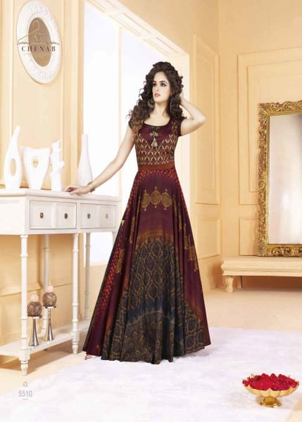 Fancy Multi Color Tafeta Silk Digital Print Party Wear Gown 5510