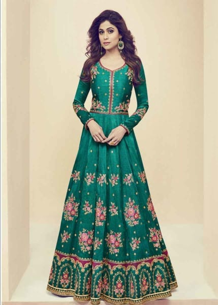 Designer Green Color Party wear Anarkali Salwar Kameez 2673