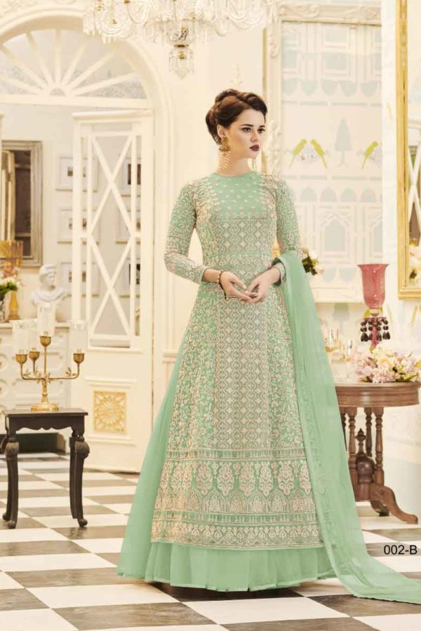 Fancy Swamp Green Mono Net With Georgette Wedding Wear Salwar Kameez 2-B