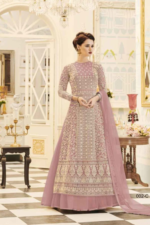 Stylish Brandy Rose Color Mono Net With Georgette Wedding Wear Salwar Kameez 2-C