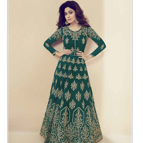 Exclusive Green Color Real Georgette Floor Length Anarkali Suit 27001 C