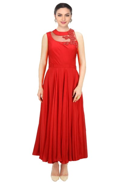 Red designer embroidered dress for women 139 Red