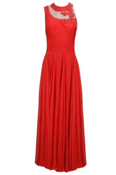 Red designer embroidered dress for women 139 Red B