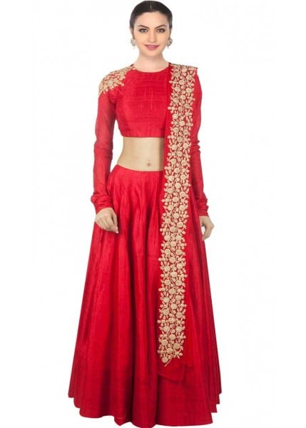 Red designer embroidred lehenga choli with matching dupatta for woman 120
