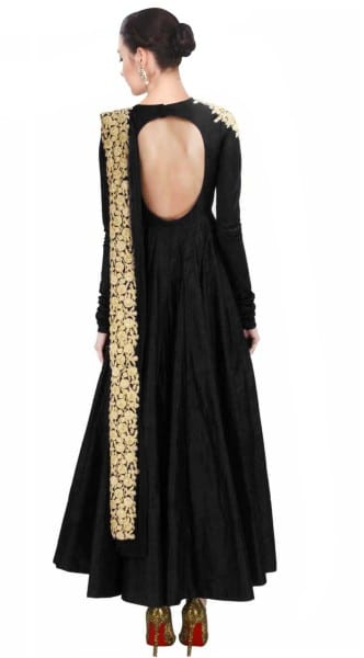 Black designer embroidered dress for women 121 BLack A