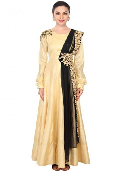 Gold designer embroidered dress for women 121 Beige