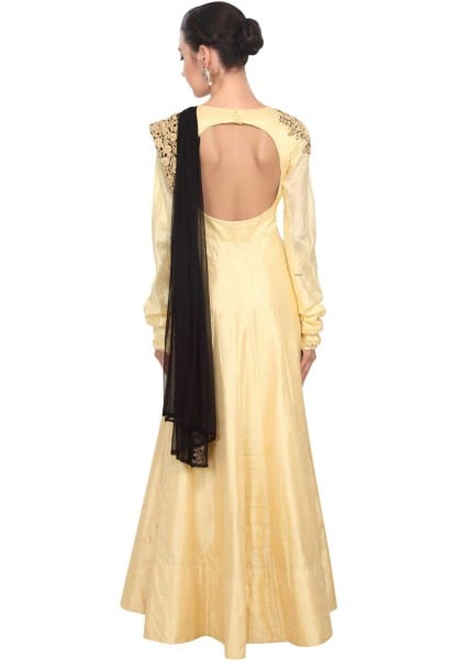 Gold designer embroidered dress for women 121 Beige A