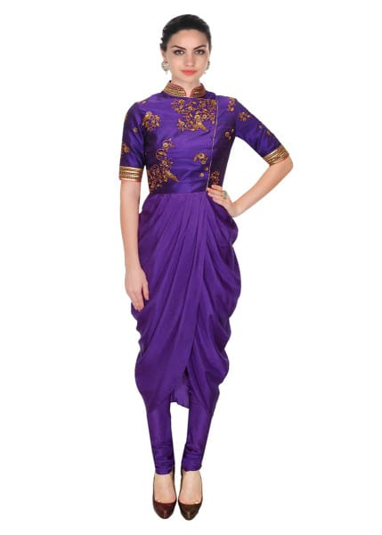 Designer Purple embroidered drape set 135