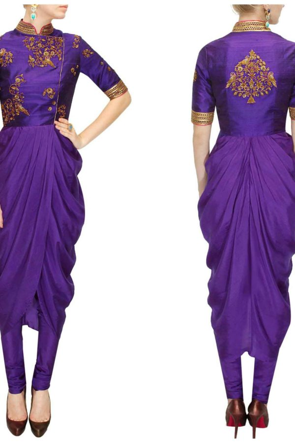 Designer Purple embroidered drape set 135 E