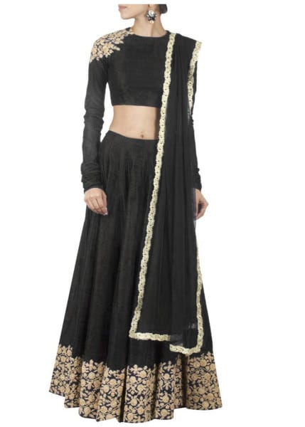 Black designer embroidred lehenga choli with matching dupatta for woman 142 Black