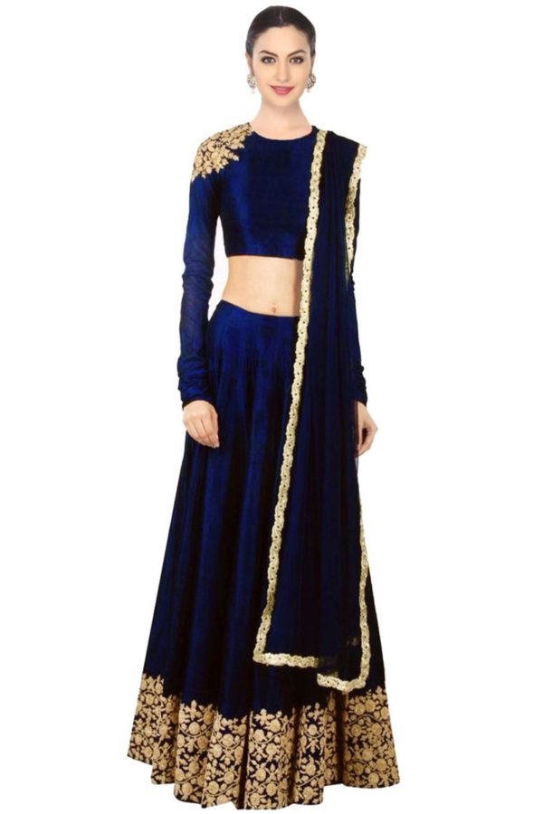 Navy blue designer embroidred lehenga choli 142 Blue