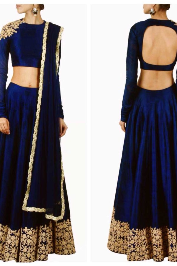 Navy blue designer embroidred lehenga choli 142 Blue B