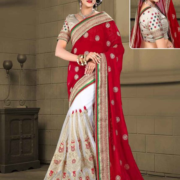 Designer Red and White Color Digital Net and Catonic Georgette Panetar Saree 3063