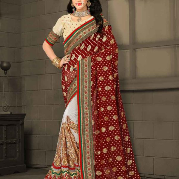 Exclusive Maroon and White Color Digital Net and Viscos Georgette Panetar Saree 3064