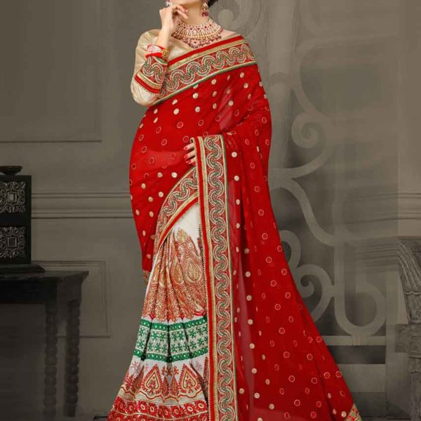 Designer Red, White and Green Color Digital Net and Catonic Georgette Saree 3092