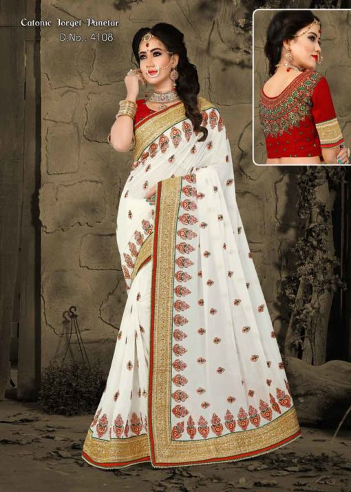 Exclusive White Color Catonic Georgette Panetar Saree 4108