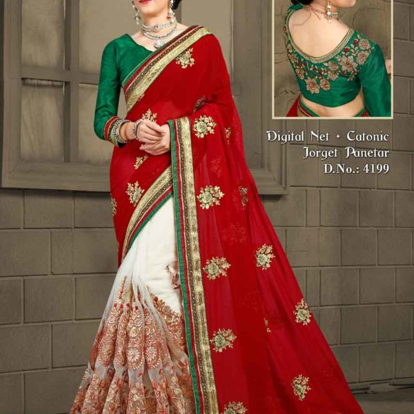 Stunning Red and White Color Embrodered Digital Net and Catonic Georgette Panetar Saree 4199